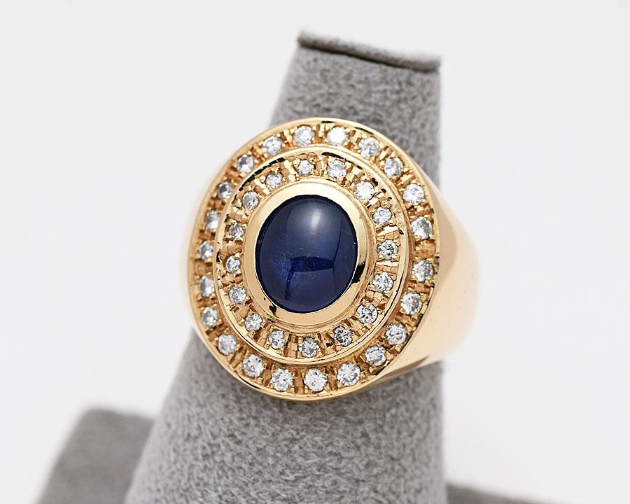 K18YG ファッションリング ゴールド サファイヤ ダイヤモンド D0.608 サイズ15.5号 イエローゴールド レディース デザインリング 研磨仕上げ済 【中古】