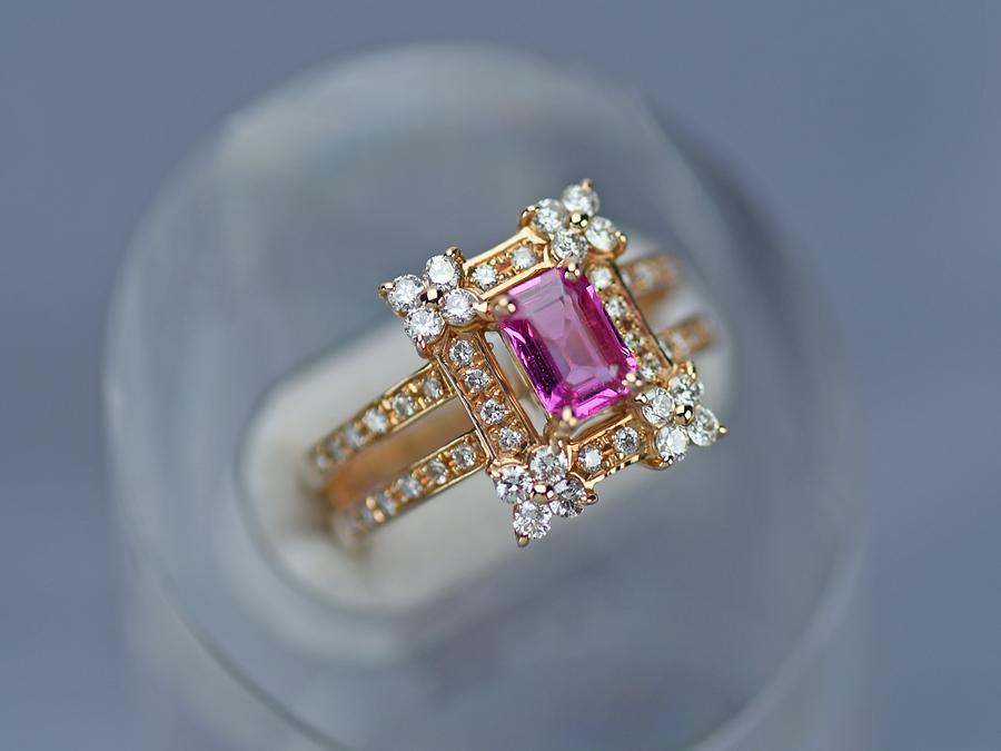 新作販売 送料無料 15時までの決済で即日発送 最短で翌日届きます K18PG ファッションリング ピンクサファイヤ サイズ11号 0.763ct 大規模セール 美品 0.55ct 中古 ダイヤモンド