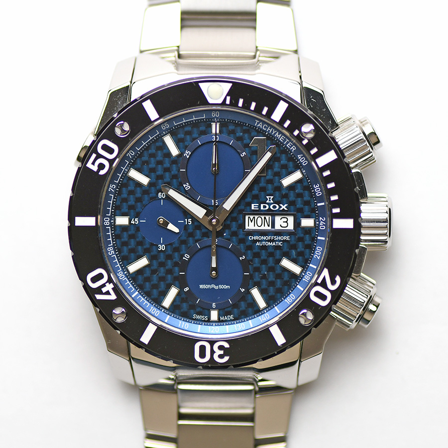 15時までの決済で即日発送 最短で翌日届きます エドックス EDOX クロノオフショア1 クロノグラフ オリジナル 01115-3-BUIN 男性用 500m防水 メンズ 紳士用 腕時計 中古 自動巻 期間限定で特別価格