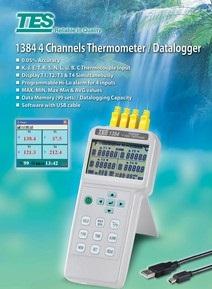 全国送料無料TES社[TES-1384]4入力温度計/データロガー TES-1384