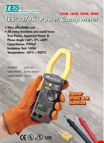 全国送料無料TES社[TES-3079K]デジタル・パワー・クランプ・メーター TES-3079K