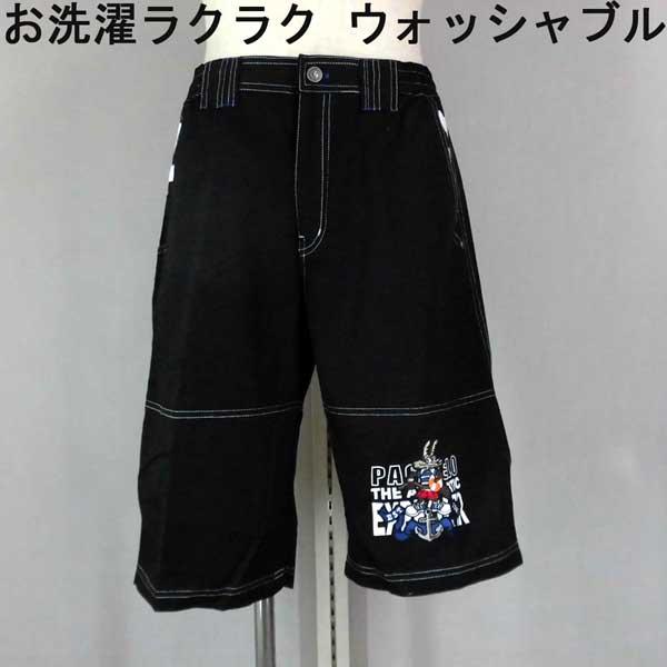 夏 パジェロ ショートパンツ 綿100% キャラクター刺繍 黒/白配色【L】