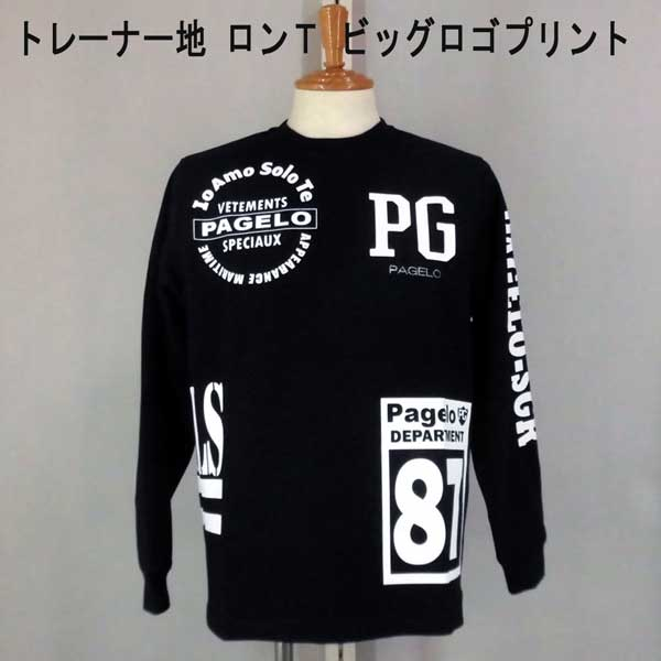 NEW秋冬 パジェロ 長袖カットソー/Tシャツ 綿/ビッグロゴ/プリント柄 黒 【L】【LL】