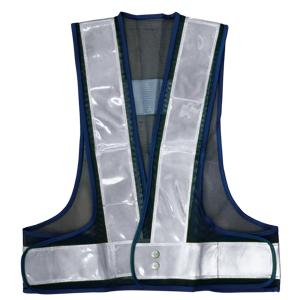 A-AB101-7050 安全ベスト 反射ベスト 70mm幅 50枚 フリーサイズ 紺/白 (メッシュ部:紺/反射部:白) 反射部70巾