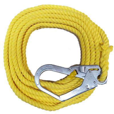 介錯ロープ 建築用ロープ カラー 黄  12mm×10m 片大径フック 片テープ止め 名古屋製綱 KAISYAKU010