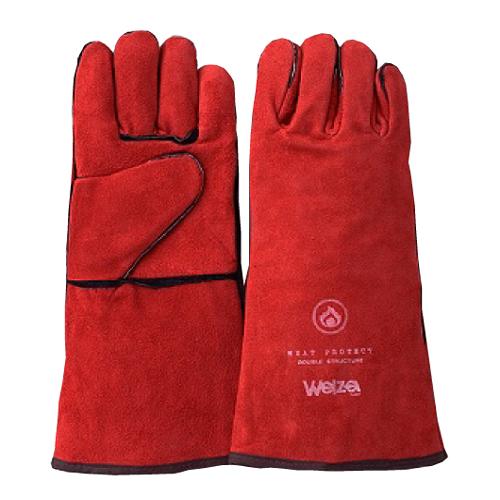 W-0514R Welza ウェルザ 熔接用5本指手袋 レッド 5双組