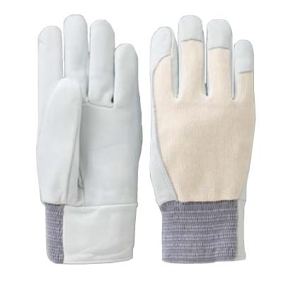 KA401-5 作業手袋 牛革クレスト甲メリヤス ホワイト(M~LL) 5双セット