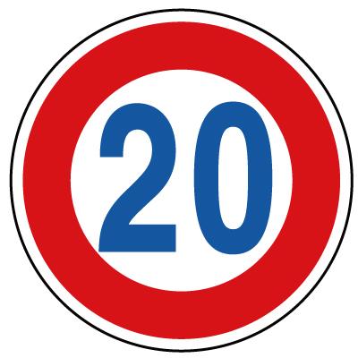 894-52B 指示標識 道路標識(構内用)規制標識 最高速度20km 600φmm