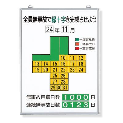 315-10 無災害記録表(板・数字板セット) カラー鉄板・アルミ枠 600×450mm UNIT ユニット