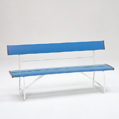878-01 ベンチ(折りたたみ式) 座面両端安全カバー付 (青) 1505×516×740mmH ユニット UNIT