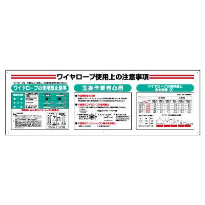 331-13A ワイヤロープ点検標識 ワイヤロープ使用上の注意事項 600×1800×2mm厚 エコユニボード ユニット UNIT