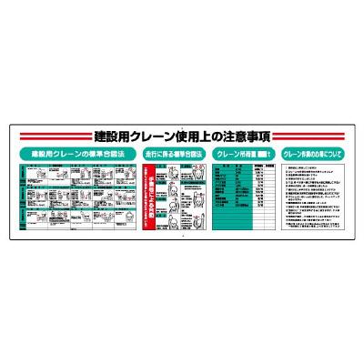 331-12A 建設用クレーン使用上の注意事項 クレーン合図法標識 建設用クレーンの標準合図法 走行に係る標準合図法 クレーン吊荷重 UNIT ユニット