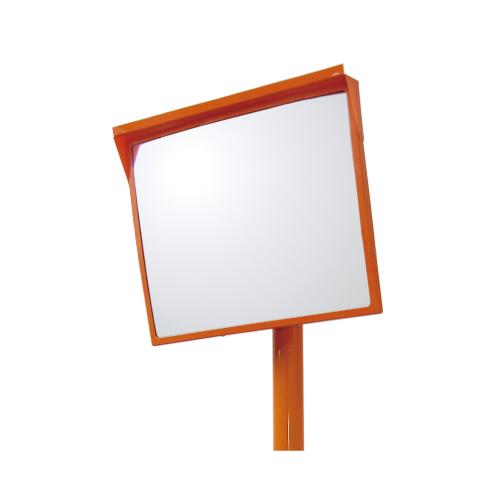 384-28 カーブミラー Bタイプ角型反射鏡(一面鏡) ポール・ミラーセット アクリル製 500×600mm UNIT ユニット