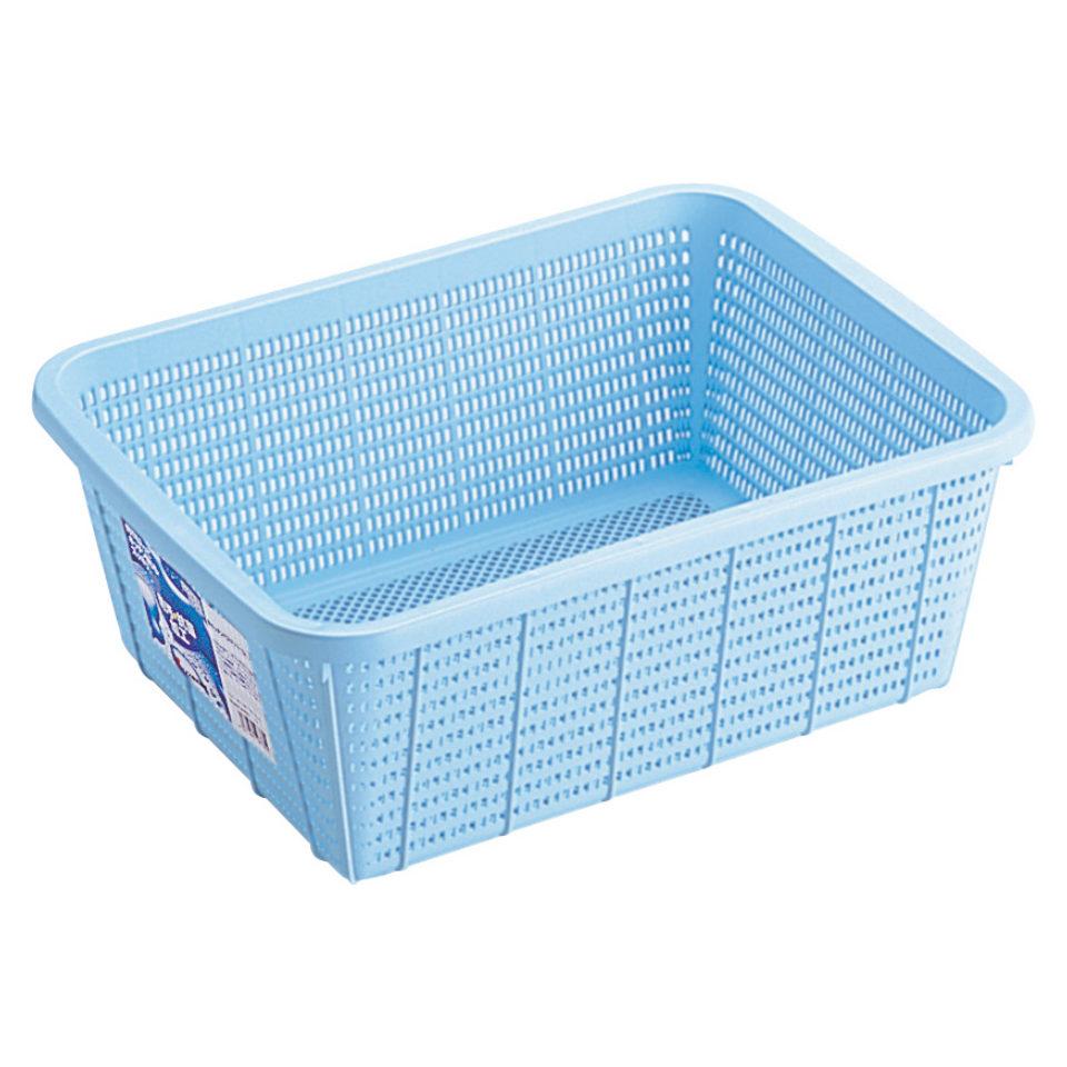 洗いやすく抗菌加工の角カゴ リス キッチンバスケット M カゴ 新発売 深型 ざる ブルー 新品未使用