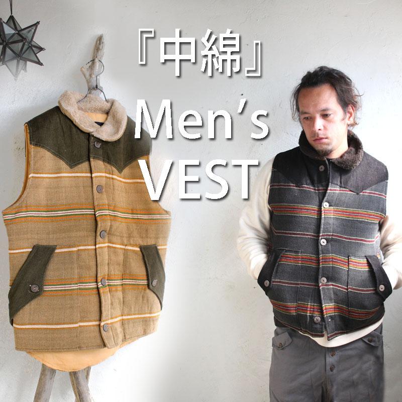 南米ボーダーの中綿メンズベスト!!アジアン/エスニック/ファッション小物/アジアン雑貨アジアンファッション/メンズエスニック/チャイハネ