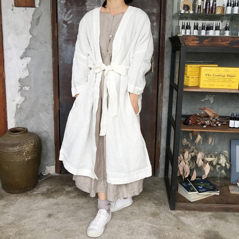 【ichi Antiquite's】東炊きリネンガウンコート* イチアンティークス/ICHI イチ/ナチュラル/リネン/リネン チュニック/リネン100%/ICHI Antiquite's/リトアニア