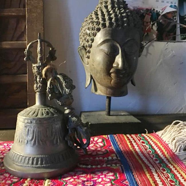 チベット仏具 ベルとドルジェ (大)ガンター/アンティーク/仏具/チベット宗教/真鍮/浄化/魔除け/瞑想