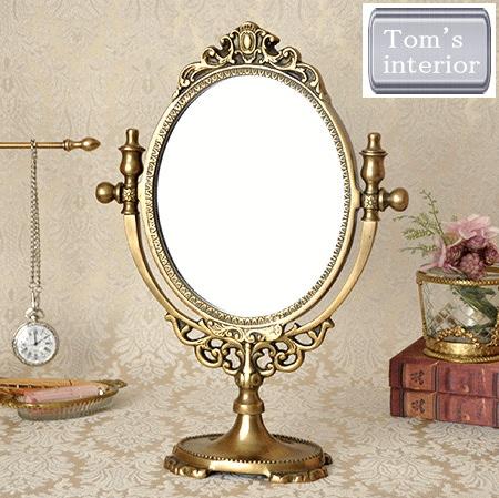 【アンティーク調・真鍮スタンドミラー】真鍮 ブラス アンティーク レトロ 鏡 ミラー 卓上
