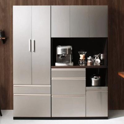 スタイリッシュキッチン収納 キッチンボード 食器棚 国産 90cm幅 新生活 レンジボード【代引き不可