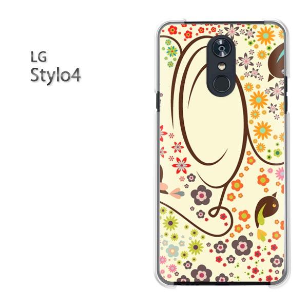 ゆうパケット送料無料 LG stylo4lg スタイル STYLO4 simフリースマートフォン おしゃれ 人気 カワイイアクセサリー スマホケース  カバー ハード ポリカーボネート [花・イラスト(ベージュ)/stylo4,pc,ne089]|TomSawyer