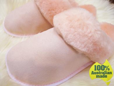 【送料無料】100%オーストラリアンメイドのムートンスリッパ ベビーピンク Mandic Shoes社製/S・Mサイズ