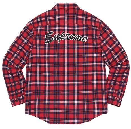 2019FW 19AW Supreme Arc logo Quilted Flannel Shirt Red シュプリーム アーチ ロゴ キルト フランネル シャツ