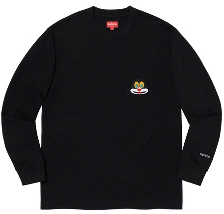 【From NYC 】2019FW 19AW Supreme Cat L/S Pocket Tee Black Long Sleeve Tee BOX シュプリーム キャット ロング スリーブ ポケット T シャツ ボックス