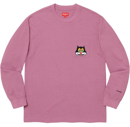 【From NYC 】2019FW 19AW Supreme Cat L/S Pocket Tee Mauve Long Sleeve Tee BOX シュプリーム キャット ロング スリーブ ポケット T シャツ ボックス