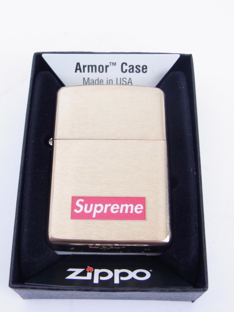 online store 00438 daa89 2011 AW SUPREME ZIPPO BOX LOGO Lighter GOLD ...