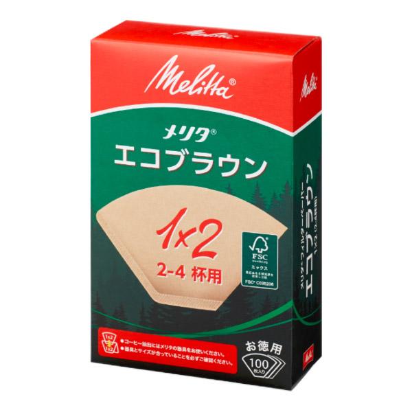 メリタ フィルターペーパー Nエコブラウン 1×2G ◆在庫限り◆ 毎日続々入荷 箱入 PE-12GBN 2~4人用 100枚