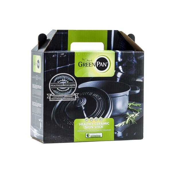 グリーンパンGREENPANフェザーウェイトココットラウンド22cmポットホルダー2個付グレーCC002457-001