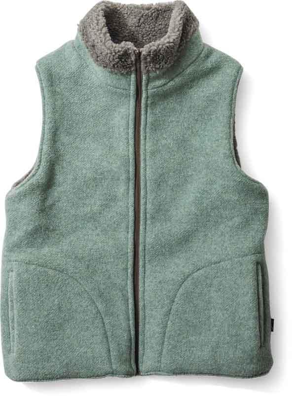 在庫商品最速発送暖 暖かくて動きやすいリバーシブルベスト green clothing 高い素材 グリーンクロージング BOA VEST Wakakusa ミッドレイヤー ボアベスト ベスト Mocha リバーシブル 出群