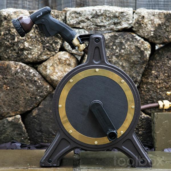 【オリジナルホースリール COSMO Bronze-1 コスモブロンズ1】(ブロンズリール BR4-XT20BRPL)おしゃれ 高品質 送料無料 散水 水まき 水やり 洗車 ホースリール20m 散水ホースかっこいい こだわり 新築祝い のし対応(沖縄・離島配送不可)