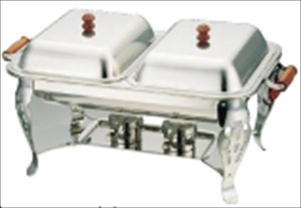 三宝産業 UK18-8木柄角チェーフィングデッシュ ダブル 16インチ NTE30016 [7-1525-0801]
