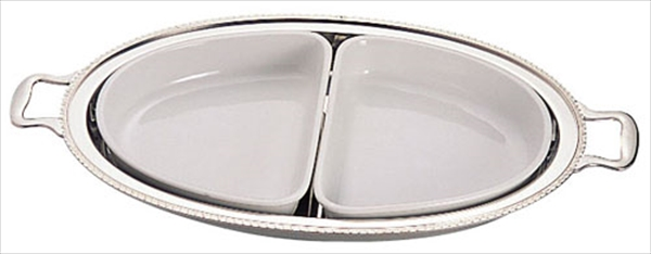 三宝産業 UK18-8ユニット小判湯煎用陶器セット 2分割(2枚組) 24インチ用 6-1450-1902 NYS4324