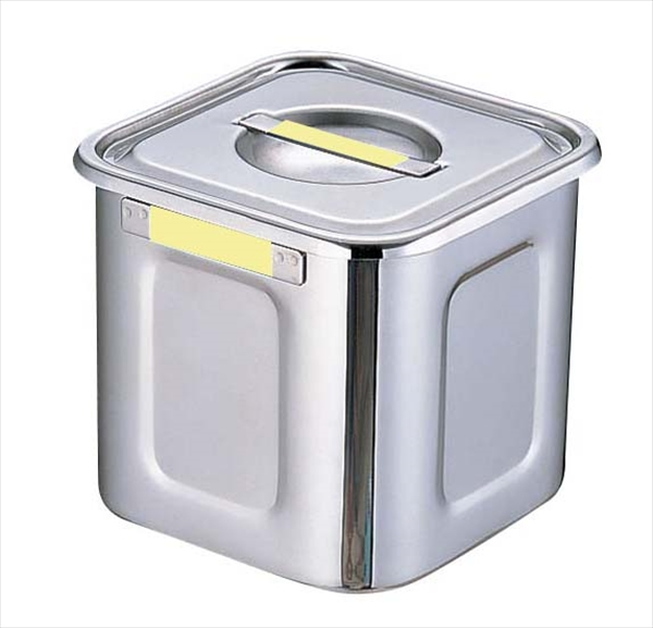 三宝産業 18-8カラープレート付角キッチンポット 24 イエロー 6-0200-0619 AKK7719