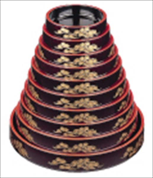 若泉漆器 DX富士型桶 溜パール老松 尺7寸 1-478-20 6-1976-0310 ROK1710