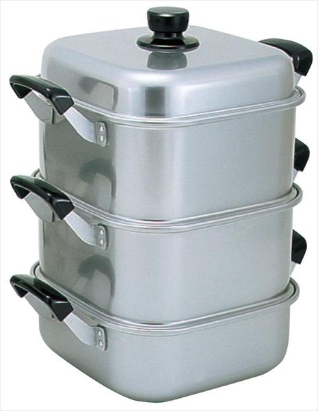 アカオアルミ アルマイト角型蒸器 26cm 二重 No.6-0371-0902 AMS71262