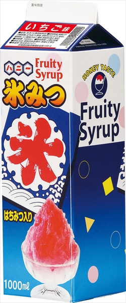 ハニー 氷みつ 1Lレギュラータイプ(12本入) いちご No.6-0845-0401 FKO2101