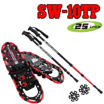 スノーシュートレッキングポールセット25inch カラー:レッド/本体(ペア)1.89kg SW-10TP TREKKING POLE SNOWSHOE SET [SW10TP]54.0~90.0kgまでドッペルギャンガーアウトドア DOPPELGANGER OUTDOOR