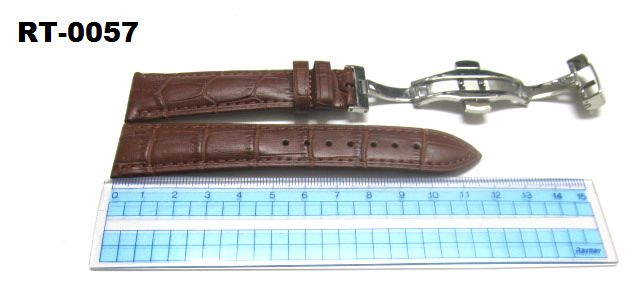 RT-0057 ベルト幅22mm・牛革・形押し プッシュ式Dバックルタイプ ブラウン系 茶色・時計バンド・牛革・ベルト交換用