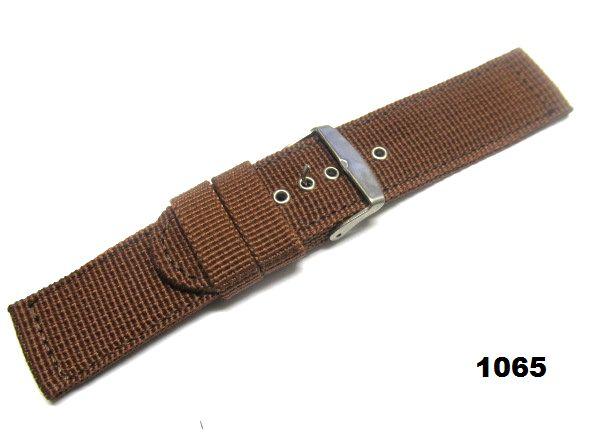 RT-1065 ベルト幅24mm 無地・ブラウン系 茶色・時計バンド・ナイロン地・ベルト交換用
