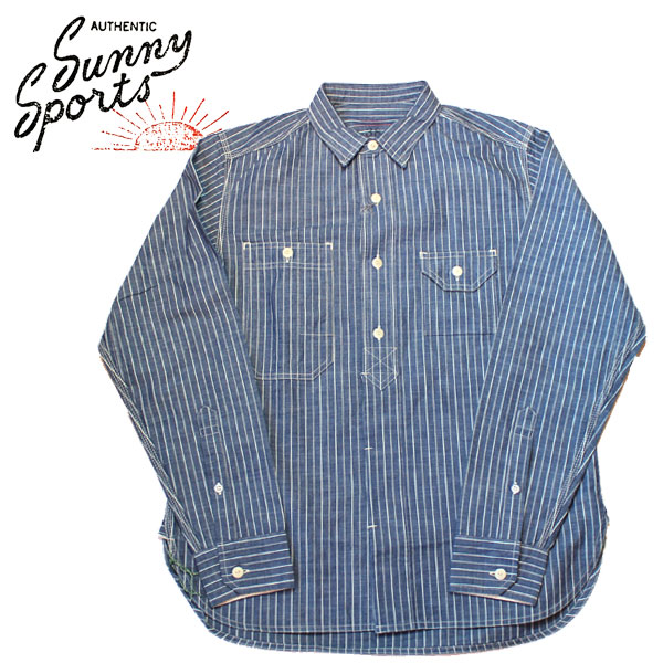 【SUNNY SPORTS(サニースポーツ)】 40'S WORK ORGANIC SHIRTS Long Sleeve Shirts 長袖シャツ VINTAGE ヴィンテージ オーガニックシャツ シャンブレーシャツ BLUE DENIM INDIGO  インディゴ ブルー デニムシャツ STRIP ストライプ