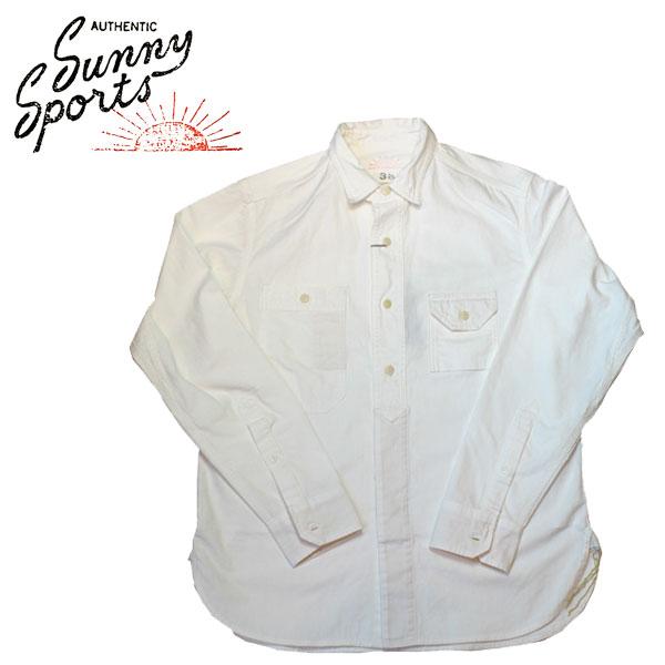 【SUNNY SPORTS(サニースポーツ)】 40'S WORK ORGANIC SHIRTS Long Sleeve Shirts 長袖シャツ VINTAGE ヴィンテージ WHITE ホワイト 白