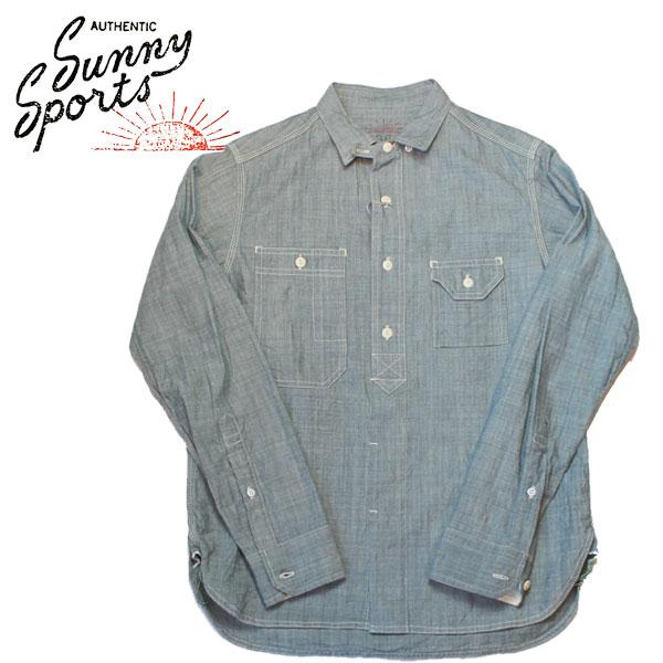 【SUNNY SPORTS(サニースポーツ)】 40'S WORK ORGANIC SHIRTS Long Sleeve Shirts 長袖シャツ VINTAGE ヴィンテージ オーガニックシャツ シャンブレーシャツ BLUE DENIM INDIGO  インディゴ ブルー デニムシャツ