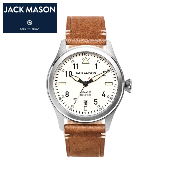 【JACK MASON(ジャックメイソン)】AVIATION 日本製クオーツ イタリアンレザーベルト 10気圧防水 カレンダー機能付き パイロットウォッチ [JM-A101-201]