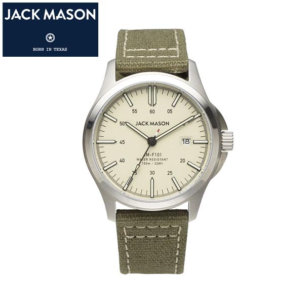 【JACK MASON(ジャックメイソン)】FIELD スーパールミノバ  日本製クオーツ キャンバス レザーベルト 10気圧防水 カレンダー機能付き [JM-F101-004]