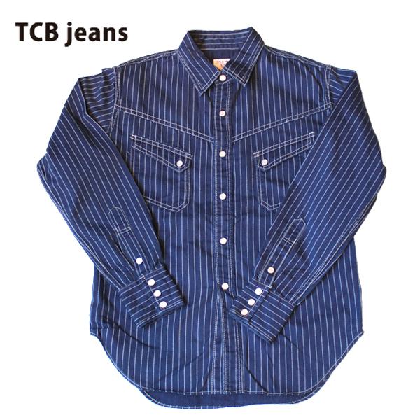 【TCB JEANS(ティーシービー ジーンズ )】TCB RANCHMAN ランチマン Shirt DENIM ウエスタンシャツ DENIM SHIRTS デニムシャツ 日本製 BLUE WABASH ウォバッシュ ストライプ 岡山 MADE IN JAPAN LIVI'S REPLICA リーバイス レプリカ VINTAGE ヴィンテージ