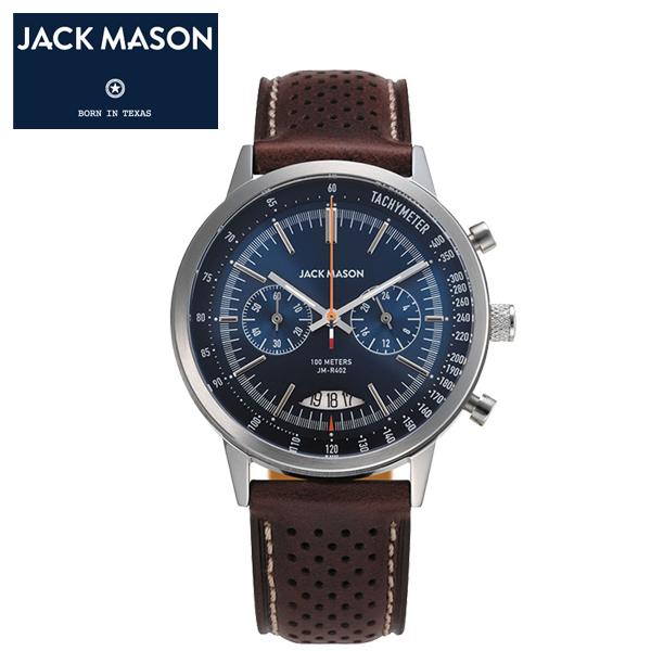 【JACK MASON(ジャックメイソン)】RACING(レーシング) スーパールミノバ クロノグラフ 日本製クオーツ イタリアンレザーベルト 10気圧防水 タキメーター、カレンダー機能 [JM-R402-001]
