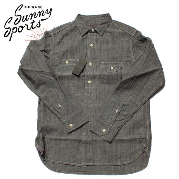 【SUNNY SPORTS(サニースポーツ)】 40'S WORK ORGANIC SHIRTS Long Sleeve Shirts 長袖シャツ VINTAGE ヴィンテージ オーガニックシャツ シャンブレーシャツ BLACK DENIM INDIGO  ブラック デニムシャツ